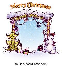 bonhomme de neige, sapin, illustration, fourmi, vecteur, portail, noël