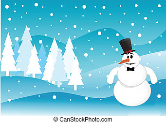 bonhomme de neige, scène hiver, noël