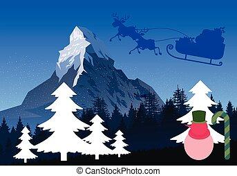bonhomme de neige, scène nuit, santa