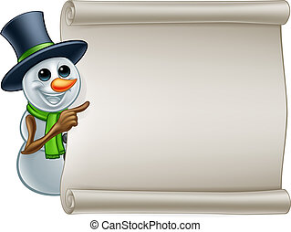 bonhomme de neige, signe, dessin animé, noël