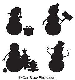 bonhomme de neige, silhouette