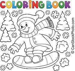 bonhomme de neige, snowboard, livre coloration