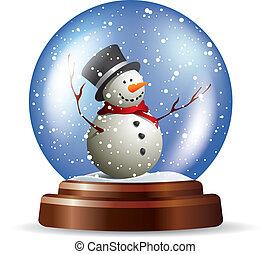 bonhomme de neige, snowglobe