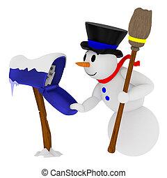 bonhomme de neige, sourire, boîte lettres