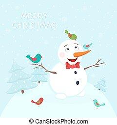 bonhomme de neige, sourire, oiseaux, coloré, heureux