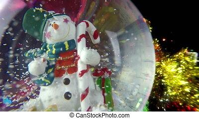 bonhomme de neige, sphère, bokeh, fond
