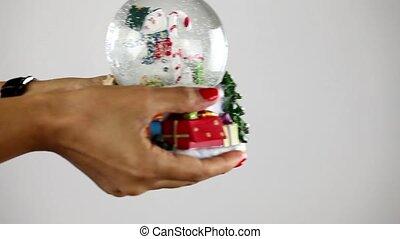 bonhomme de neige, sphère, main