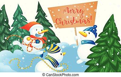 bonhomme de neige, style, concept, bannière, dessin animé, joyeux noël