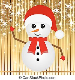 bonhomme de neige, sur, a, or, fond