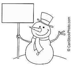 bonhomme de neige, tenue, signe
