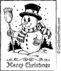 bonhomme de neige, thème, 2, hiver, dessin