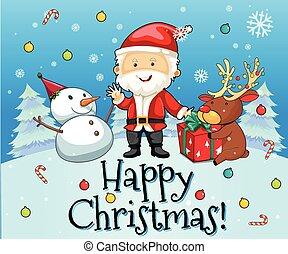 bonhomme de neige, thème, noël, santa