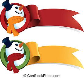 bonhomme de neige, toile, noël, ruban