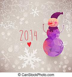 bonhomme de neige, triangles., fait, hiver, résumé, flocons neige, salutation, composition, formes, snowman., toile fond., géométrique, 2014, sourire, template., toile de fond, card.