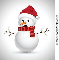 bonhomme de neige, vecteur, 3d