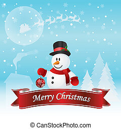 bonhomme de neige, vecteur, noël carte
