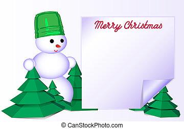 bonhomme de neige, vecteur, salutation, illustration, fond, joyeux, noël blanc, carte