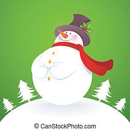 bonhomme de neige, vert arrière