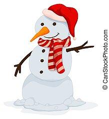 bonhomme de neige, visage heureux