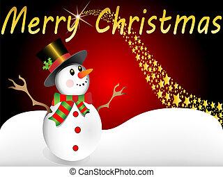 bonhomme de neige, voeux, noël, joyeux