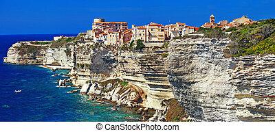 Bonifacio Corsica - Bonifacio panorama - town on rocks, ...