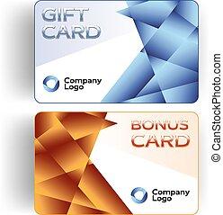 bonification, cartes, cadeau, plastique