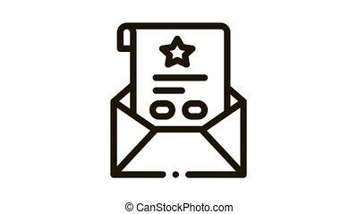 bonification, lettre, icône, feuille, animation