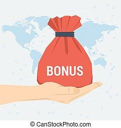 bonification, sac, main, cadeau, womans