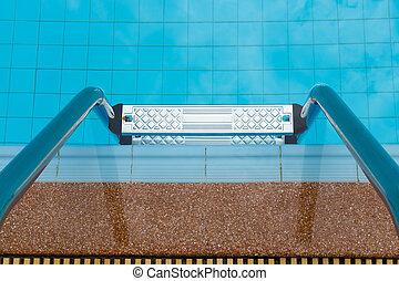 bonito, água azul, piscina, natação