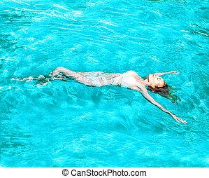 bonito, água, menina, costas, natação