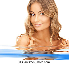 bonito, água, mulher