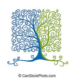 bonito, árvore, desenho, arte, seu