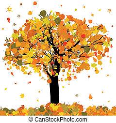 bonito, árvore, eps, outono, 8, seu, design.