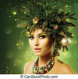 bonito, árvore natal, feriado, penteado, e, maquilagem