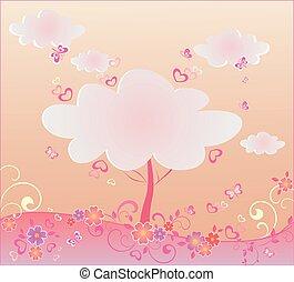 bonito, árvore, valentine