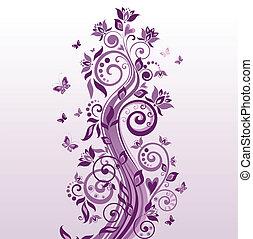 bonito, árvore, violeta
