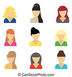 bonito, ícones, jovem, mulheres negócio