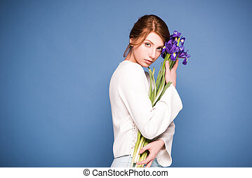 bonito, íris, mulher, flores