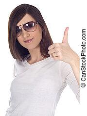 bonito, óculos de sol, mostrando, mulher, ok