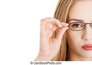 bonito, óculos, mulher, portrait., negócio