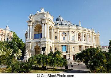 bonito, ópera, e, balé, casa, em, odessa, ucrânia