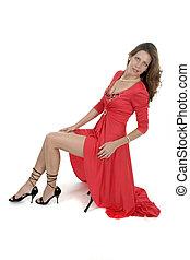 bonito, 1, mulher, vestido, vermelho