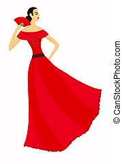 bonito, 10, eps, dançarino, flamenco, red.