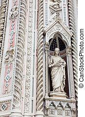 bonito, 1436, formalmente, estátua, di, fachada, cattedrale,...