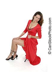 bonito, 3, mulher, vestido, vermelho