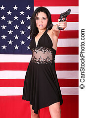 bonito, 9mm, mulher, handgun, étnico