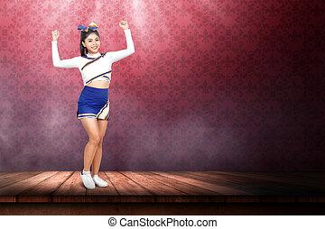 bonito, ação, cheerleader