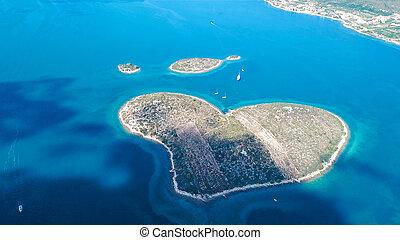 bonito, aéreo, amor, canal, também, galesnjak, croácia, ilha, heart-shaped, pasman, chamado, vista