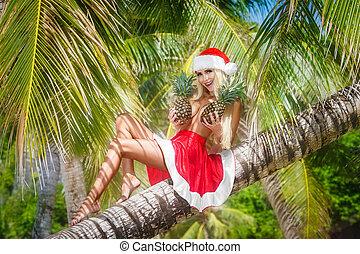 bonito, abacaxis, chapéu, tropics., feriados, alegre, árvore., palma, peito, segurando, ano, novo, loiro, saia, natal, selva