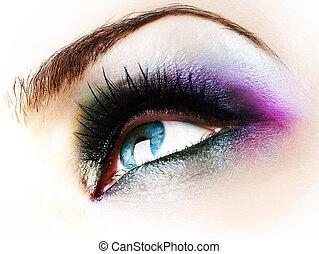 bonito, abstratos, olho mulher, closeup